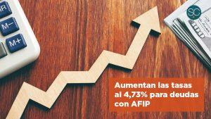 Aumentan las tasas al 4,73% para deudas con AFIP