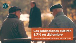 Las jubilaciones subirán 8,7% en diciembre y la movilidad de todo el año será de 51,1%